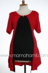 baju menyusui pendek bolero lipit merah  SD 183  large